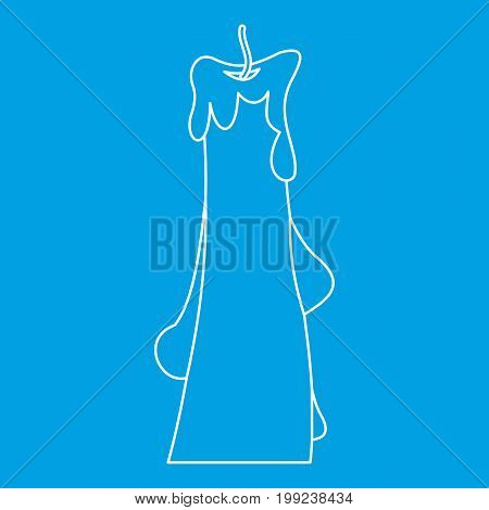 Dropped candle icon blue outline style isolated vector illustration. Thin line sign