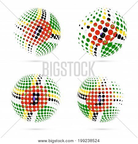 Dominica Halftone Flag Set Patriotic Vector Design. 3D Halftone Sphere In Dominica National Flag Col