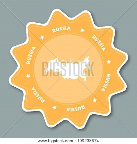 Russian Federation Map Sticker In Trendy Colors. Star Shaped Travel Sticker With Country Name And Ma