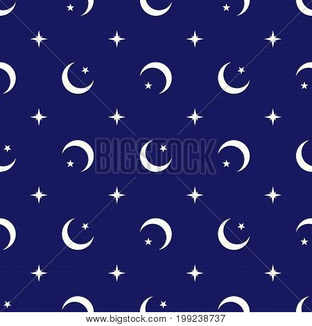 Celestial geometric seamless pattern vector background Islamic religion design with crescent moons stars and north pole star like compass at sky dark blue white