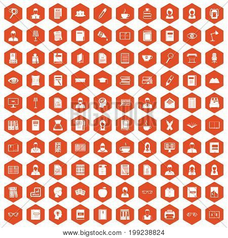 100 reader icons set in orange hexagon isolated vector illustration