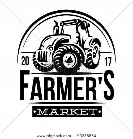 Monochrome vector illustration of a farmer market.