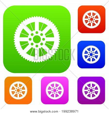 Sprocket from bike set icon in different colors isolated vector illustration. Premium collection