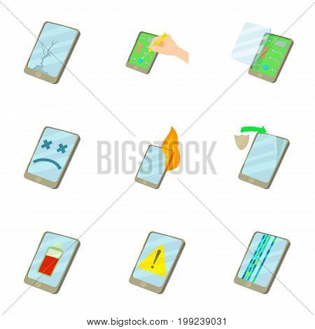 Phone upgrade icons set. Cartoon set of 9 phone upgrade vector icons for web isolated on white background