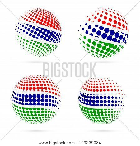 Gambia Halftone Flag Set Patriotic Vector Design. 3D Halftone Sphere In Gambia National Flag Colors