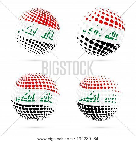 Republic Of Iraq Halftone Flag Set Patriotic Vector Design. 3D Halftone Sphere In Republic Of Iraq N