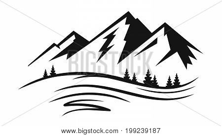 Mountain and landscape vector black on white background