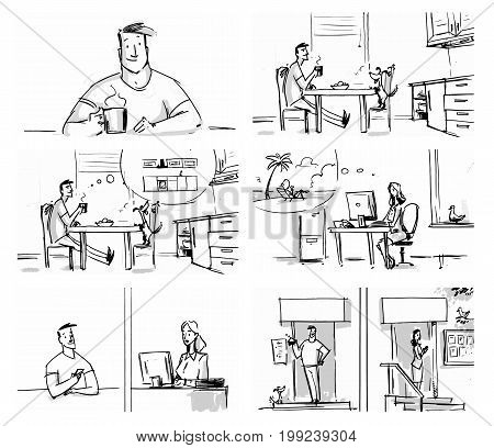 Man and woman lifestyle concept set for storyboard cartoon projects Vector illustration