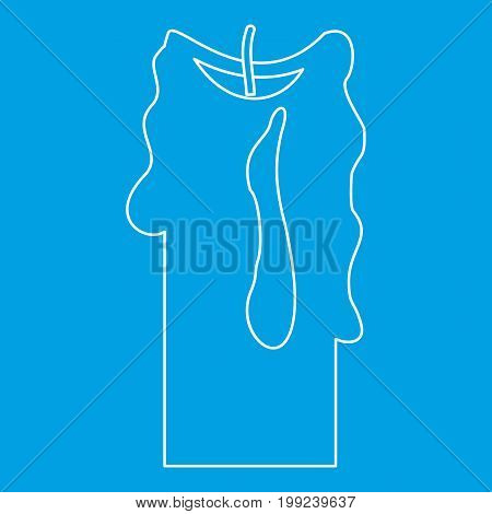 Decorative candle icon blue outline style isolated vector illustration. Thin line sign