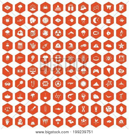 100 research icons set in orange hexagon isolated vector illustration