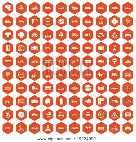 100 road icons set in orange hexagon isolated vector illustration