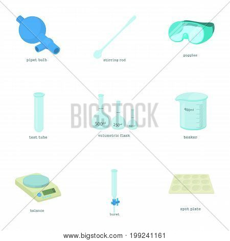 Chemical experiment icons set. Cartoon set of 9 chemical experiment vector icons for web isolated on white background