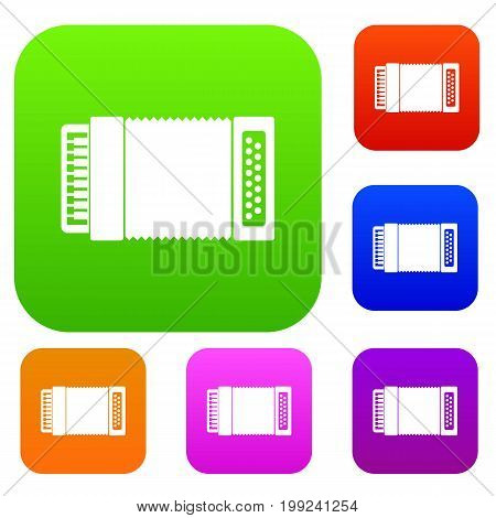 Accordion set icon in different colors isolated vector illustration. Premium collection