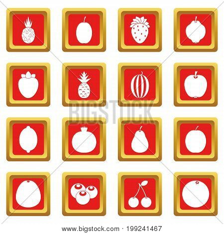 Fruit icons set in red color isolated vector illustration for web and any design