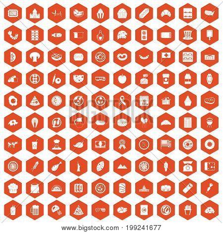 100 sandwich icons set in orange hexagon isolated vector illustration