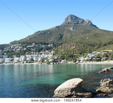FROM CAPE TOWN, SOUTH AFRICA, VIEW OF CLIFTON, WITH LIONS HEAD MOUNTAIN IN THE BACK GROUND