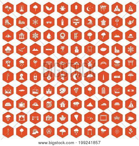 100 scenery icons set in orange hexagon isolated vector illustration