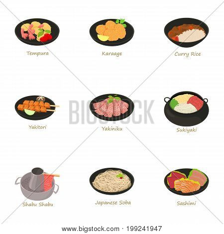 Traditional food icons set. Cartoon set of 9 traditional food vector icons for web isolated on white background