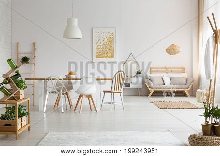 Dining Space And Living Room In Apartment