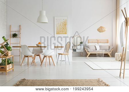 View of white stylish lagom apartment with wooden furniture