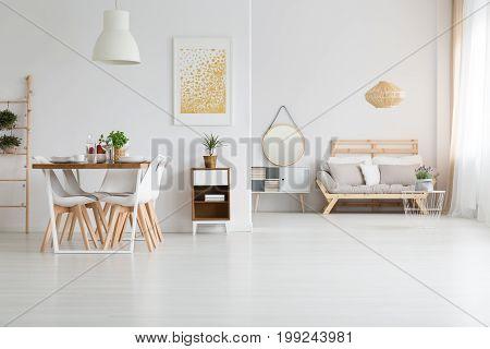 View of trendy white lagom loft in white