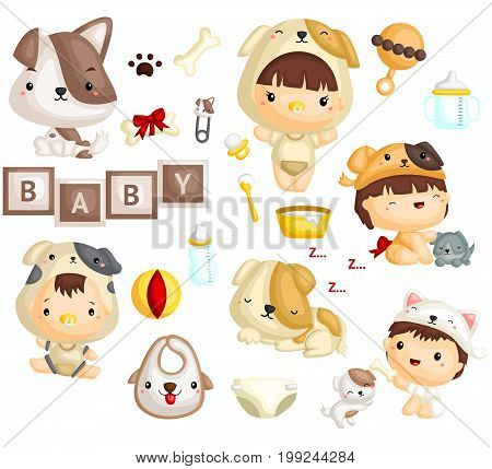 a cute baby in dog costume with puppies