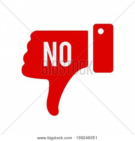 Hand voting with No. Thumb down red icon. Vector stock.