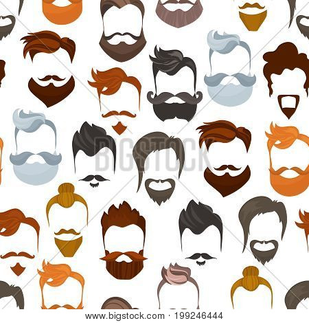 Seamless pattern of men cartoon hairstyles with beards and mustache.Fashionable stylish types lumbersexual or hipsters silhouette seamless background. Cartoon flat style vector illustration