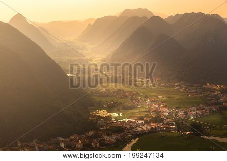 Rice field in valley around with mountain panorama view in Bac Son valley, Lang Son, Vietnam