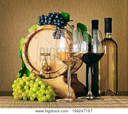 Set Of Red And White Wine. Bottles, Glasses And Barrel
