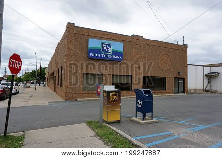CADILLAC, MICHIGAN / UNITED STATES - MAY 31, 2017:  The Fifth Third Bank offers banking services in downtown Cadillac.