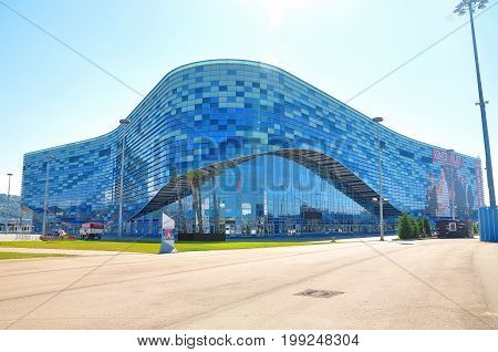 Russia - July 11 2017 Sochi Olympic Park. Ice Palace Iceberg