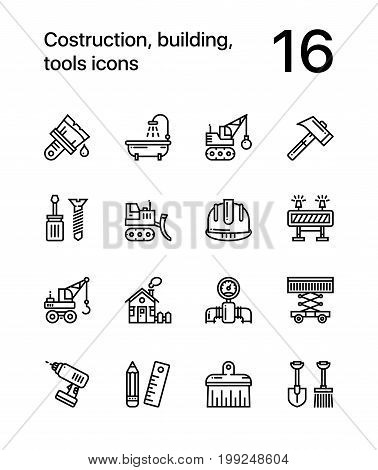 Construction, building, tools seamless vector outline icons for web and mobile design pack 2