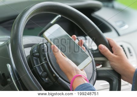 Using phone while driving the car. Risky driving behaviors concept