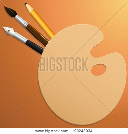 Palette with brush pencil and pen. Colored background. Vector illustration