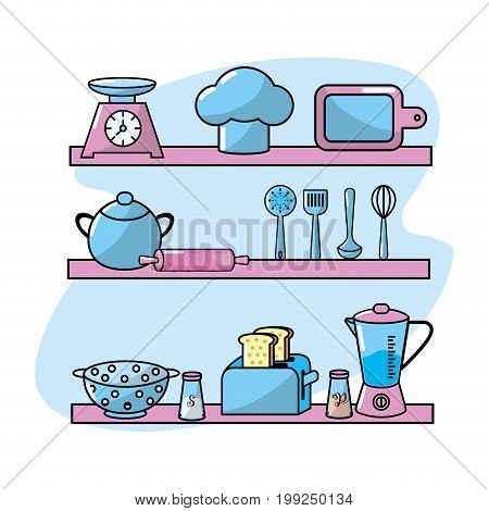 kitchen utensils elements culinary collection vector illustration