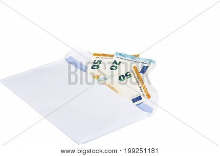 White envelope full of euro banknotes bills onwhite background. Concept of corruption drug and bribery. Front and top view