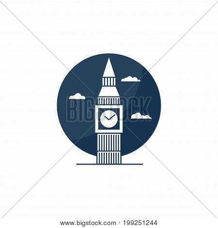 Big Ben tower icon. English school logo concept. English class academy icon. Vector