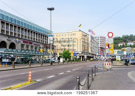 STUTTGART, GERMANY - April 12, 2017 : Tourists foot Street in Stuttgart, its metropolitan area are consistently ranked among the top 20 European metropolitan areas by GDP.