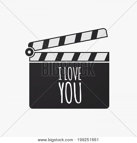 Isolated Clapper Board With    The Text I Love You