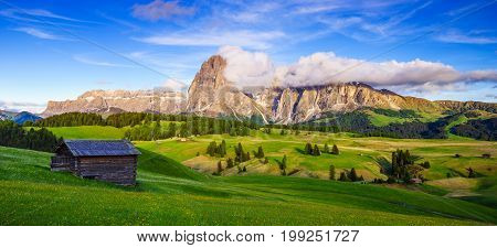 Mt.Langkofel at sunset view from Seiser Alm Dolomites Italy