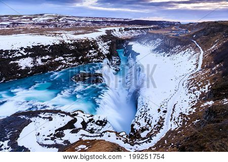 Gullfoss waterfall in Winter(bird's eye view) Iceland