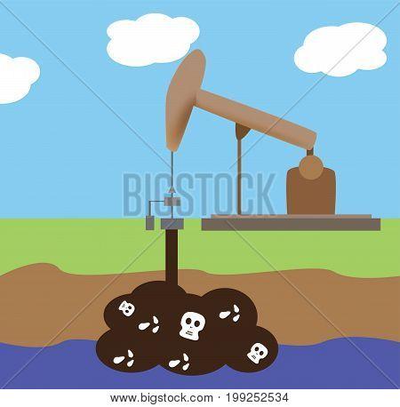 Oil rig for fuel generation. Vector design.