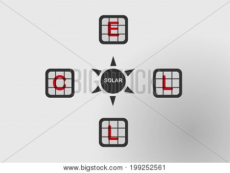Infographics of solar cell. Vector design on grey background.