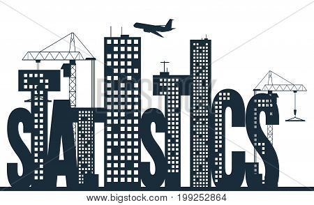 Statistics concept. Business vector illustration. City background