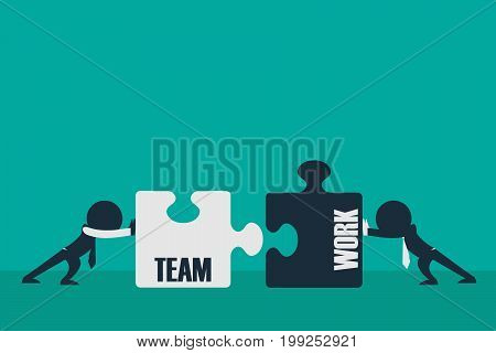 Cooperation. Two businessmen connecting puzzle elements Business concept illustration