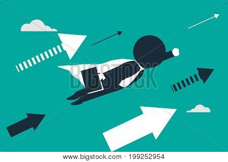 Lift off. Stickman look like a businessman flying up as a superhero. Concept business vector illustration