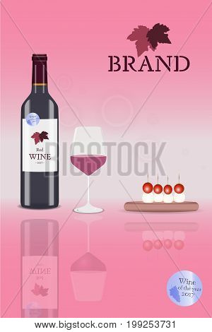 Brand. Bottle of red wine with glass and tomato mozzarella skewers with logo. Price : Best quality.