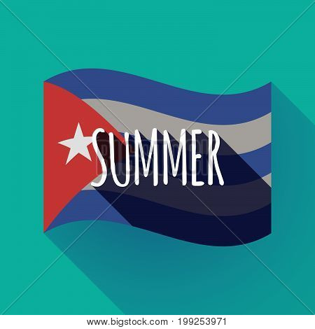 Long Shadow Cuba Flag With    The Text Summer