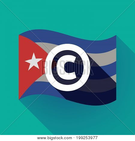 Long Shadow Cuba Flag With    The  Copyright Sign